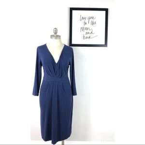 Boden dress ruched long sleeve 10 tall blue v neck